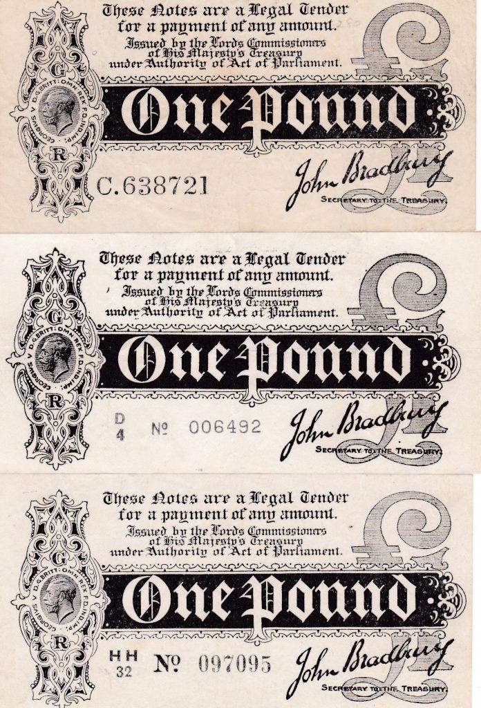 £1 Bradbury - T1, T5, T6 - Treasury Banknotes