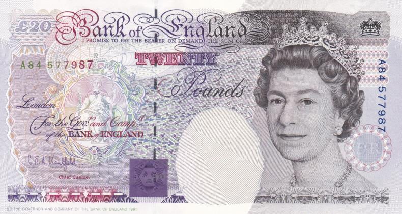 £20 Kentfield B371cs (AUNC) A84 577987 - Rarer Overlap Column  Sort