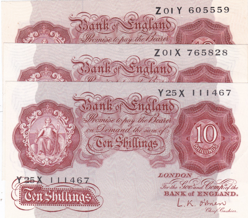 10/- O'Brien B271: Z01Y, Z01X, Y25X - Superb Trinity of GB Banknotes