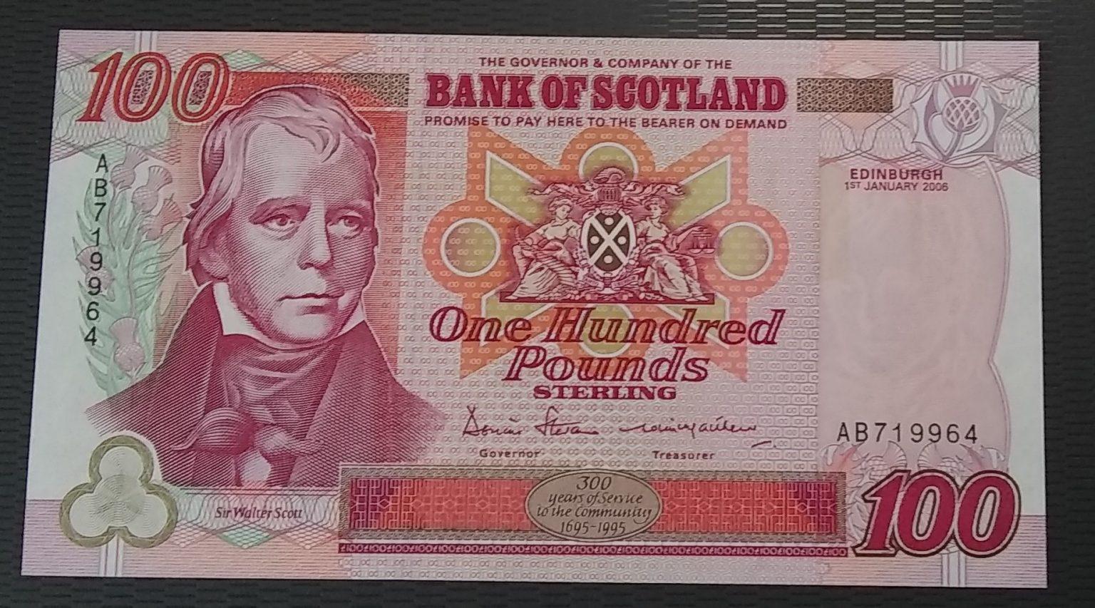 £100 Bank of Scotland: BA 126e (UNC) AB719964 – 1st January 2006 - Rare Serial Number