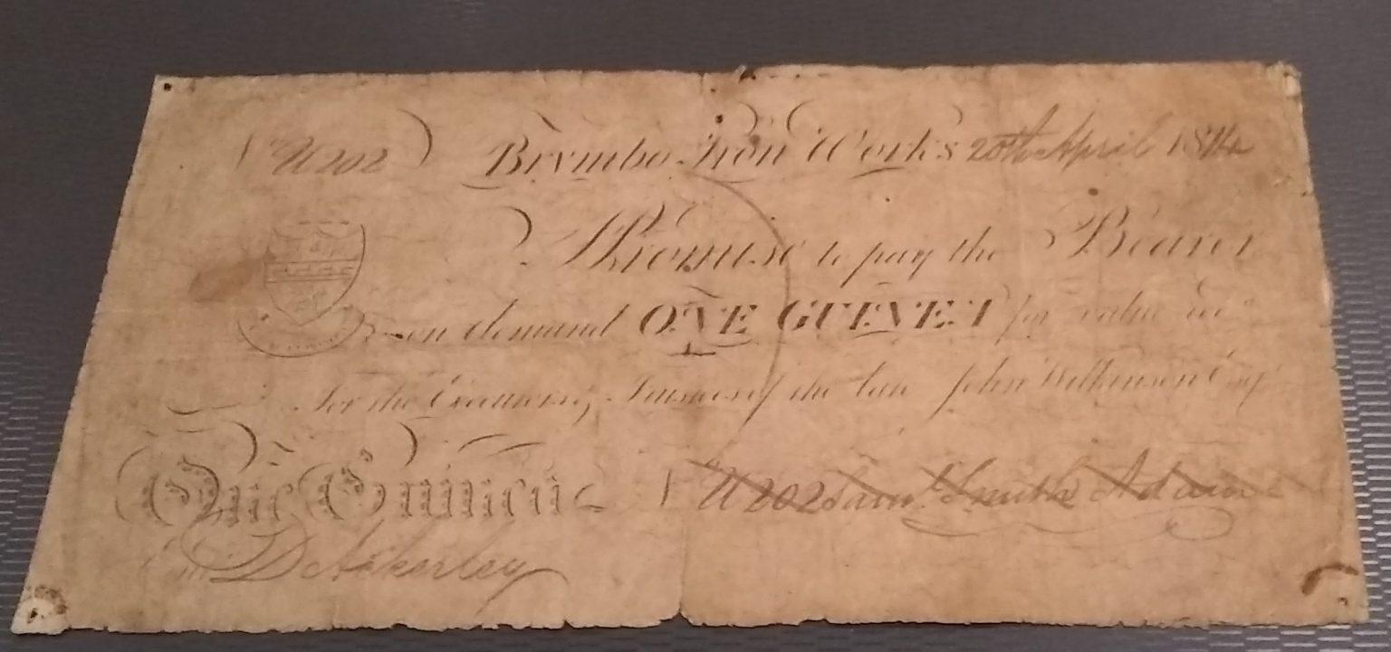 One Guinea – 1814 (VG) Brymbo Iron Works, Denbigh: Number U202 (Outing 3024b) Very Rare